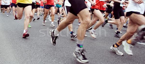 Marathon coureurs courir ville sport Photo stock © blasbike