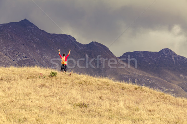 Hiking success, man hiking in inspirational mountains Stock photo © blasbike