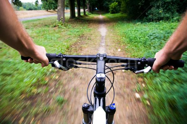 Stock fotó: Bicikli · város · park · hegyi · kerékpár · lovaglás · igazi