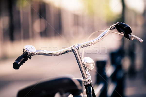 Vintage city bike colorful retro light and handlebar Stock photo © blasbike