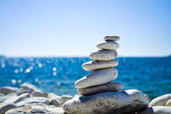 Stock photo: Stones stack, Croatian beach