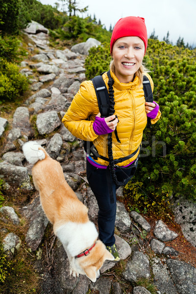 Woman hiking in mountains and walking akita dog Stock photo © blasbike