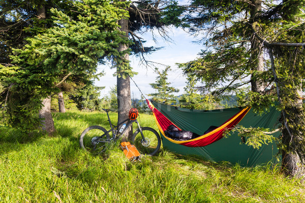 Bike travel and camping with hammock  in summer woods Stock photo © blasbike