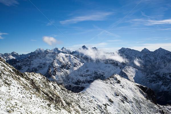 Stock fotó: Hegyek · tájkép · napos · idő · tél · hegy · kék