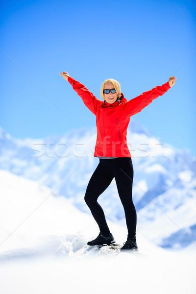 Woman happiness portrait on mountain peak Stock photo © blasbike