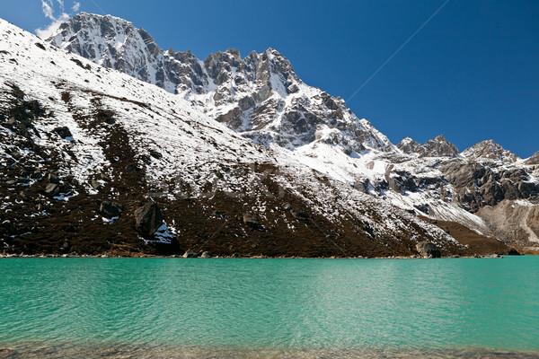 Tó hegyek Himalája Himalája Nepál égbolt Stock fotó © blasbike