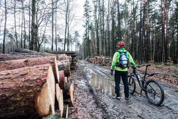 Montagna equitazione ciclismo umido autunno Foto d'archivio © blasbike