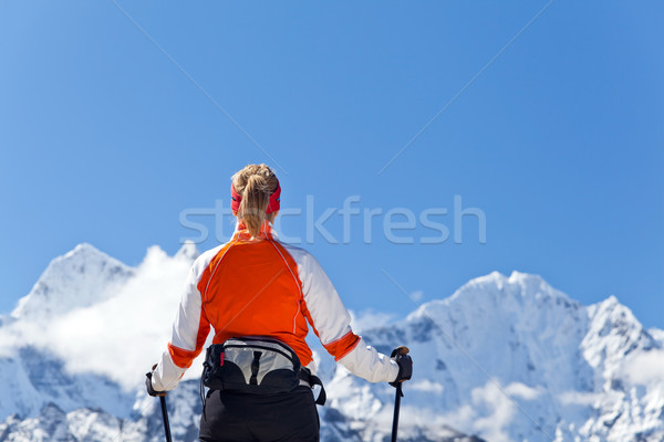 Woman trekking in Himalayas, Everest National Park Stock photo © blasbike