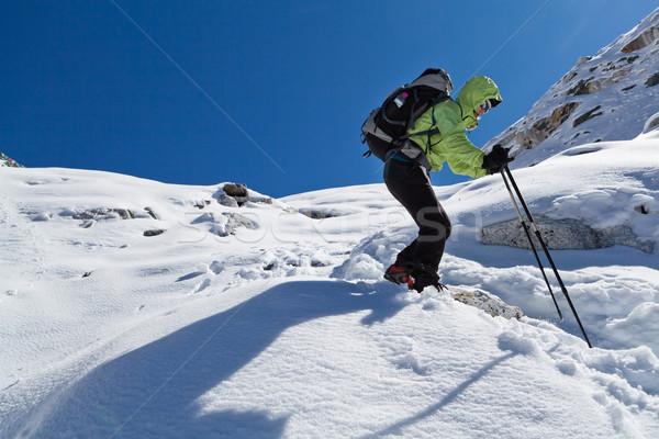 женщину походов зима Гималаи гор Сток-фото © blasbike