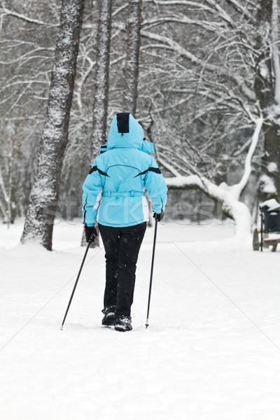 Nordic Walking on snow Stock photo © blasbike