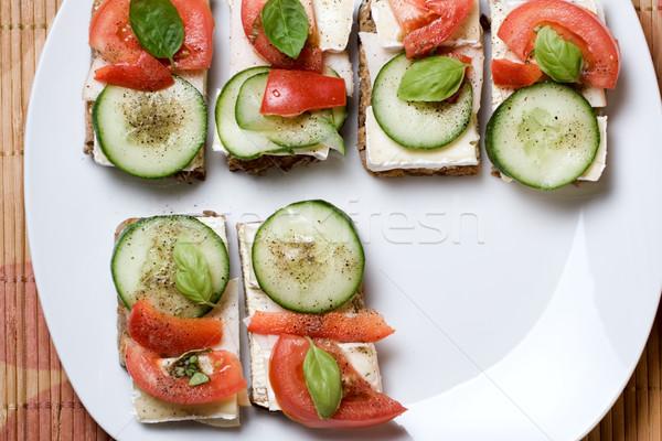 Vegetariano sanduíche tomates comida vegetariana queijo prato Foto stock © blasbike