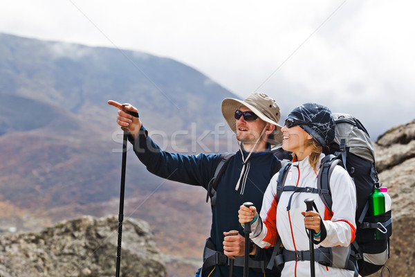 Couple Hiking in Himalaya Mountains Stock photo © blasbike