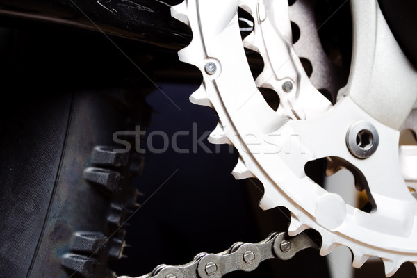 Gear and tire of mountain bike Stock photo © blasbike
