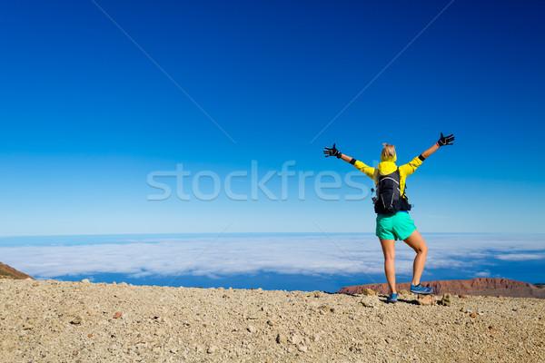 Mulher caminhadas sucesso montanha topo bem sucedido Foto stock © blasbike