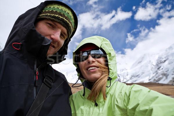 Casal caminhadas montanhas himalaia Nepal mulher Foto stock © blasbike