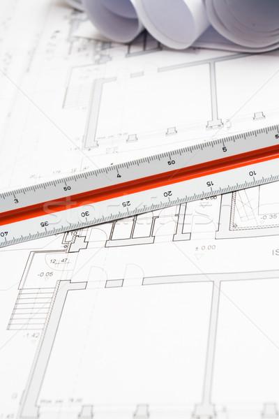 Foto stock: Engenheiro · blueprints · engenharia · planos · habitação · projeto