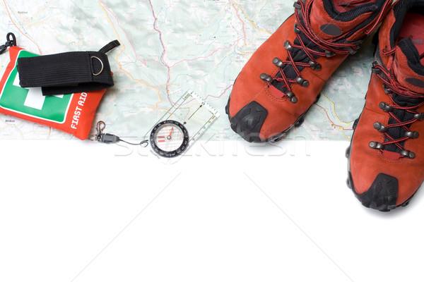 Stockfoto: Wandelen · schoenen · uitrusting · kaart · pad · sport