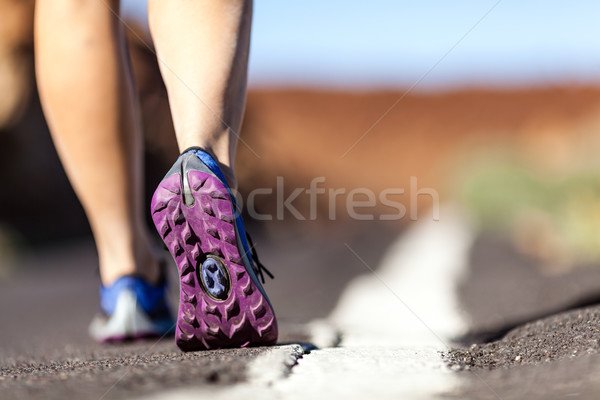 Walking or running legs in mountains, adventure and exercising Stock photo © blasbike