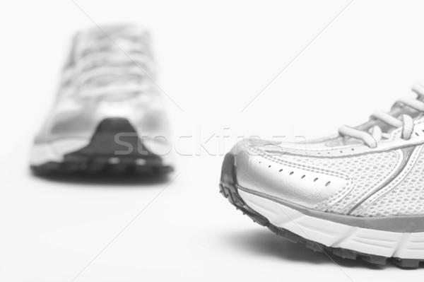 Scarpe da corsa primo piano bianco fitness scarpe eseguire Foto d'archivio © blasbike
