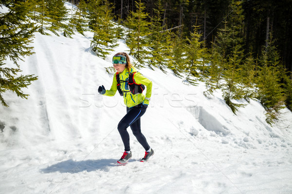 Woman winter running in beautiful inspirational landscape Stock photo © blasbike