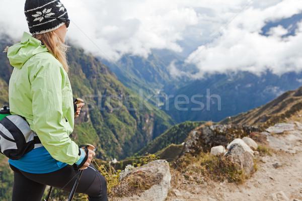 Donna escursioni montagna escursionista himalaya Foto d'archivio © blasbike