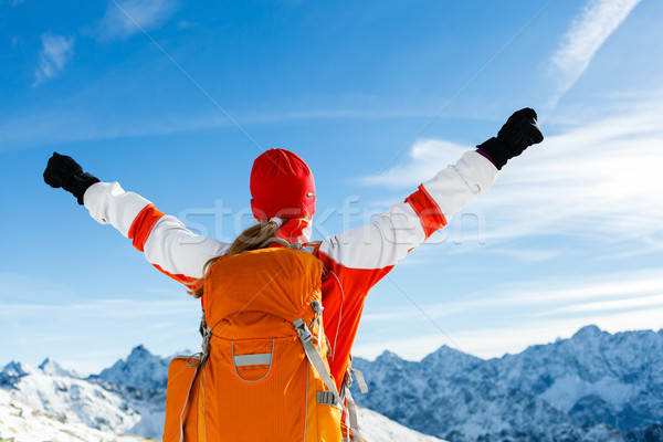 Stock photo: Hiking success, woman in winter mountains