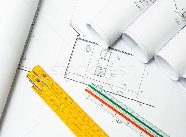 Foto stock: Blueprints · habitação · projeto · trabalhar · casa · tecnologia