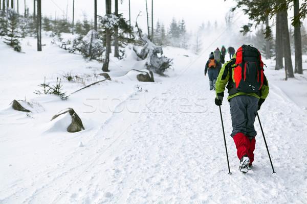 Emberek tél kirándulás túrázik hegyek sport Stock fotó © blasbike