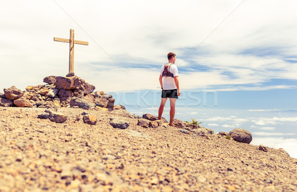 Trail runner summit, man running in mountains Stock photo © blasbike