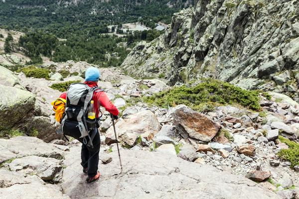 Photo stock: Femme · randonnée · sac · à · dos · corse · montagnes · France