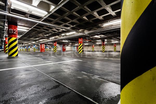 Parkeren garage ondergrondse interieur heldere neon Stockfoto © blasbike
