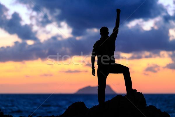Happy success winner, life goal achievement Stock photo © blasbike