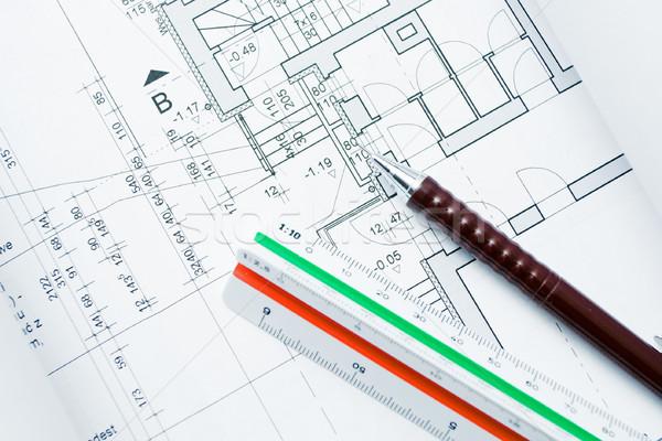 Foto stock: Casa · blueprints · governante · mecânico · lápis · negócio