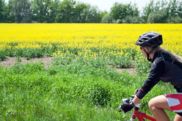 Woman riding bicycle on a summer day Stock photo © blasbike