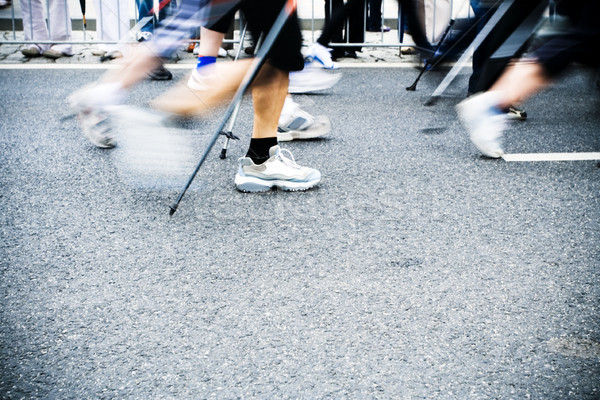 Nordic walking race, motion blur Stock photo © blasbike