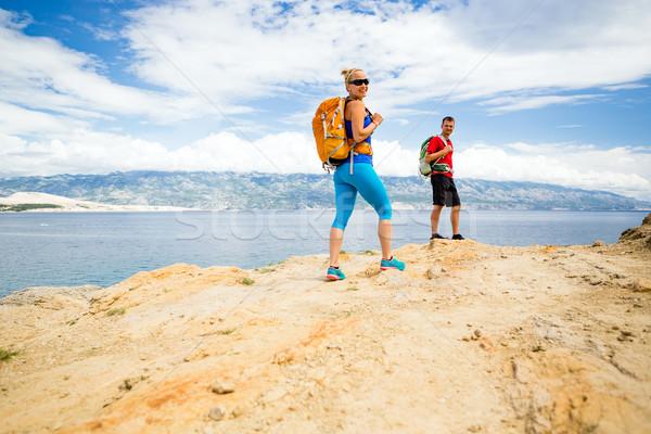 Paar wandelaars lopen parcours man Stockfoto © blasbike