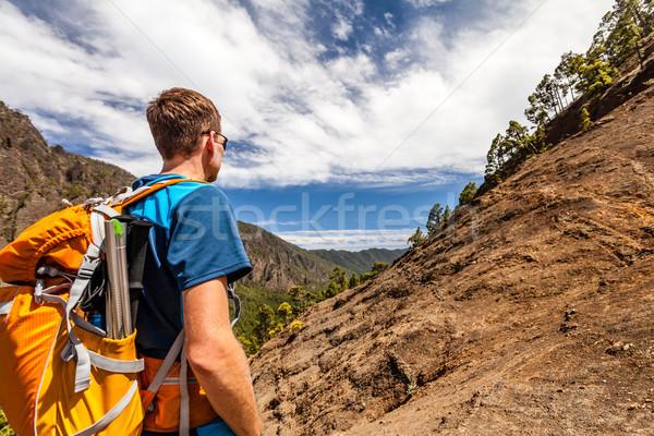 Foto stock: Andarilho · montanhas · caminhadas · trilha · corrida · homem