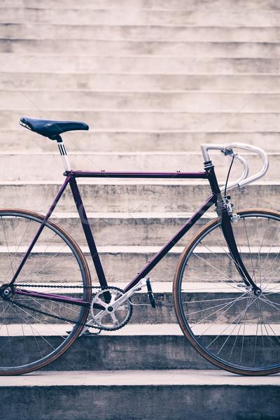 Yol bisiklet beton merdiven kentsel sahne bağbozumu Stok fotoğraf © blasbike