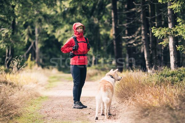 Boldog nő kirándulás kutya erdő erdő Stock fotó © blasbike