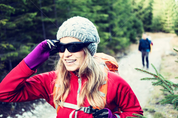 Couple hikers hiking in forest Stock photo © blasbike