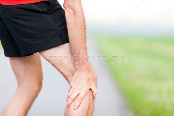 Corredor em dor muscular corrida treinamento ao ar livre Foto stock © blasbike