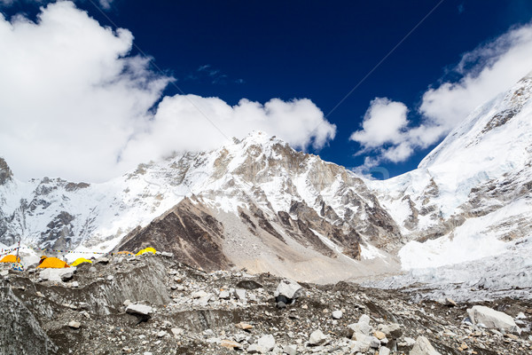 Everest Base Camp in Himalaya Mountains Landscape, Camping in Te Stock photo © blasbike