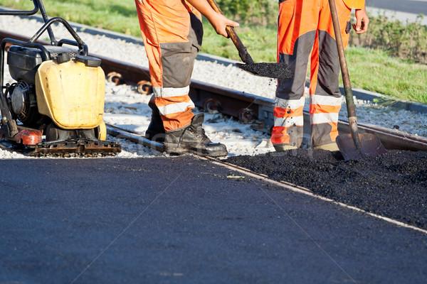 útépítés munkások építkezés utca városi állás Stock fotó © blasbike