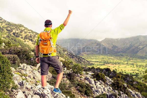 Happy success winner, life goal success man Stock photo © blasbike