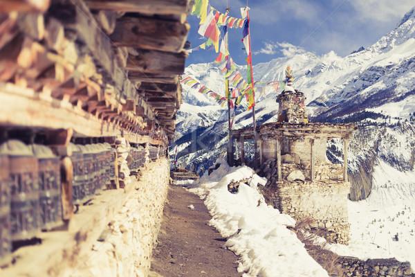 Сток-фото: молитвы · Колеса · высокий · Гималаи · гор · Непал
