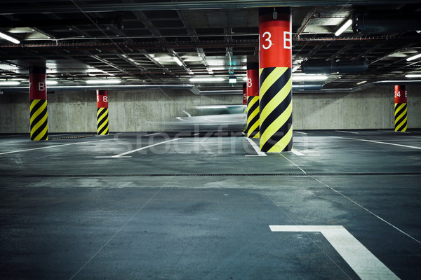 стоянки гаража подземных расплывчатый автомобилей интерьер Сток-фото © blasbike