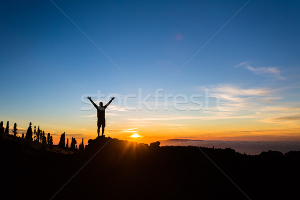 Man hiker silhouette with arms outstretched enjoy mountains Stock photo © blasbike
