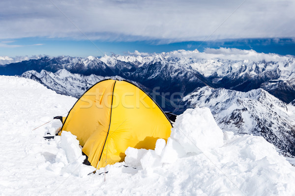 Camping in Caucasus Mountains on Elbrus landscape Stock photo © blasbike