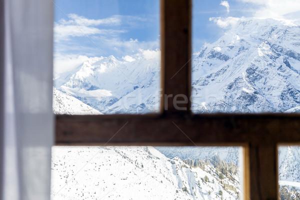 Mirando ventana himalaya montanas Nepal Foto stock © blasbike