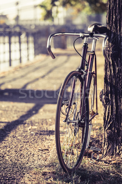 Stock fotó: Bicikli · út · fix · viselet · bicikli · figyelmeztetés